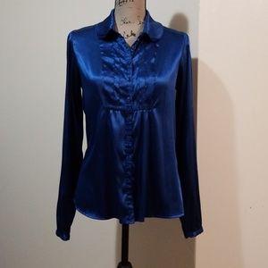 Nicole Miller Royal Blue Button Down Blouse